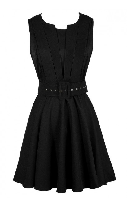 Cute Black Dress, Little Black Dress, Black Belted Dress, Black Belted A-Line Dress, Black Work Dress, Black Party Dress