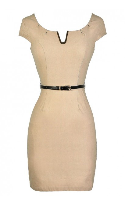 Beige Pencil Dress, Cute Beige Dress, Beige Work Dress, Belted Beige Dress, Fitted Beige Dress