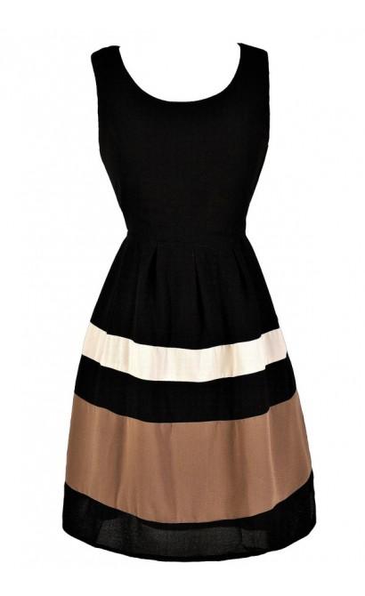 Black and Taupe Stripe Dress, Black and Mocha Stripe Dress, Black and Taupe Party Dress, Black and Mocha Party Dress, Black and Taupe Party Dress, Black and Beige Party Dress, Cute Black and Taupe Dress