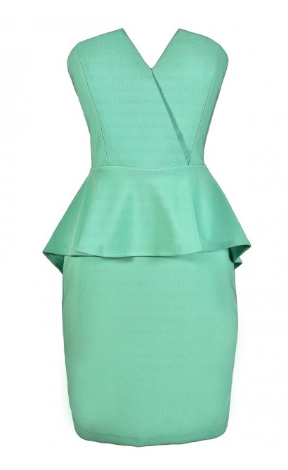 Cute Mint Dress, Mint Peplum Dress, Strapless Mint Dress, Mint Party Dress, Mint Cocktail Dress