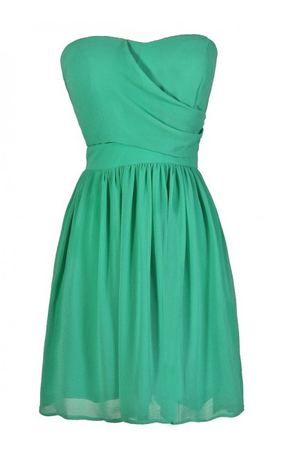 Cute Green Dress, Green Bridesmaid Dress, Bright Green Bridesmaid Dress, Green Party Dress, Green Cocktail Dress, Strapless Green Dress, Cute Summer Dress