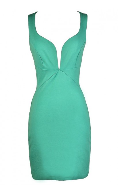 Mint Party Dress, Mint Cocktail Dress, Cute Mint Dress, Mint Bodycon Dress, Mint Plunging Neckline Dress, Fitted Mint Dress