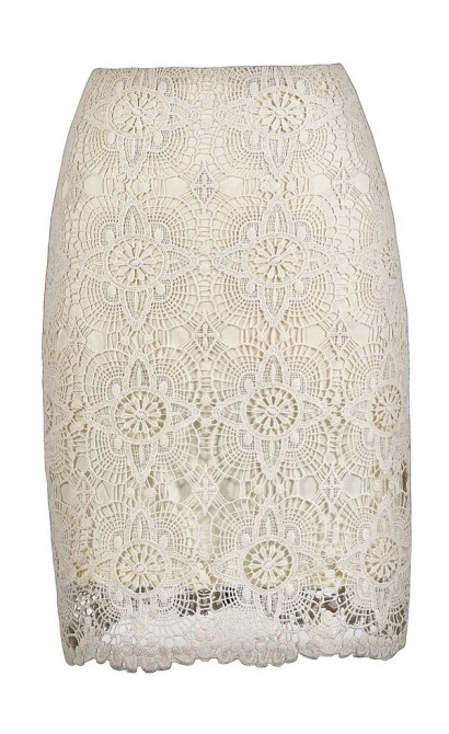 Lace Pencil Skirt, Cute Beige Skirt, Beige Lace Skirt, Beige Lace Pencil Skirt, Beige Crochet Lace Skirt