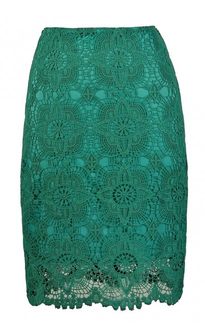 Jade Lace Pencil Skirt, Teal Lace Pencil Skirt, Crochet Lace Skirt, Crochet Lace Pencil Skirt, Jade Crochet Lace Pencil Skirt, Teal Crochet Lace Pencil Skirt, Teal Pencil Skirt, Jade Pencil Skirt