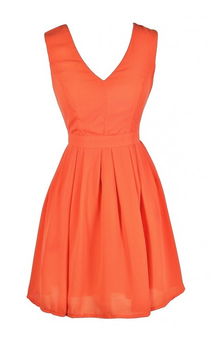 Cute Orange Dress, Orange Party Dress, Orange Cocktail Dress, Orange A-Line Dress, Cute Summer Dress, Orange Summer Dress