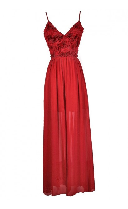 Red Rosette Dress, Red Rosette Maxi Dress, Red Rosette Prom Dress, Red Rosette Formal Dress, Red Rosette Open Back Maxi Dress