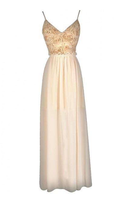 Rosette Maxi Dress, Rosette Prom Dress, Rosette Formal Dress, Rosette Open Back Maxi Dress, Cream Maxi Dress, Beige Maxi Dress, Cream Prom Dress, Beige Prom Dress, Rosette Prom Dress, Rosette Maxi Dress