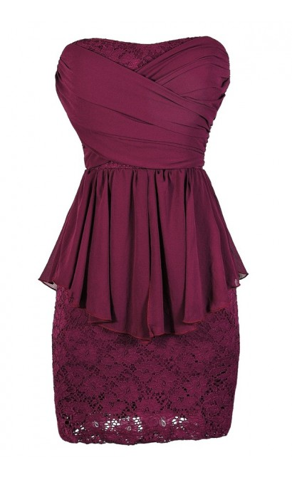 Magenta Lace Dress, Magenta Cocktail Dress, Magenta Party Dress, Magenta Peplum Lace Dress, Magenta Strapless Lace Dress