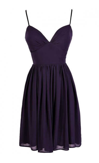 Cute Purple Dress, Royal Purple Dress, Purple Chiffon Dress, Purple Party Dress, Purple Cocktail Dress, Purple A-Line Dress, Dark Purple Dress