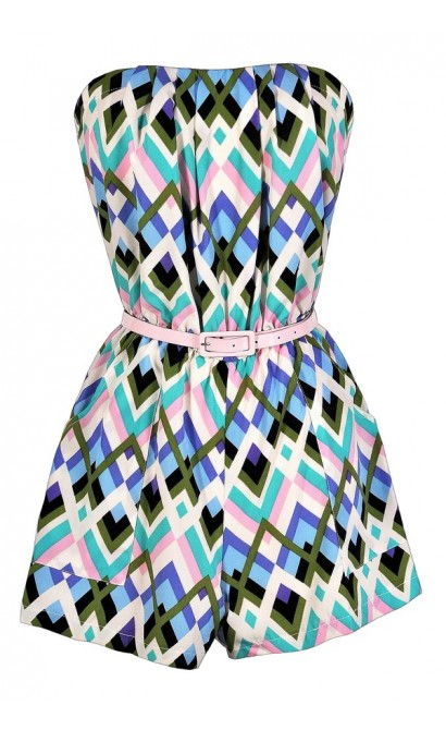 Cute Romper, Summer Romper, Printed Romper, Belted Romper, Blue and Green Romper, Blue and Pink Romper