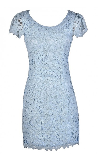Sky blue and white lace dress