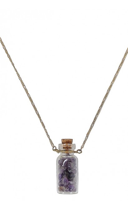 Cute Necklace, Cute Jewelry, Bottle Necklace, Purple Bottle Necklace, Amethyst Bottle Necklace, Purple Stone Bottle Necklace, Purple Stone Necklace