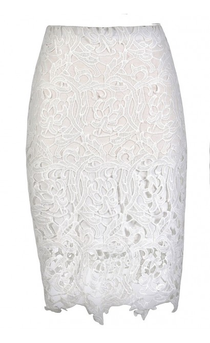 White Lace Pencil Skirt, Lace Pencil Skirt, Ivory Lace Pencil ...