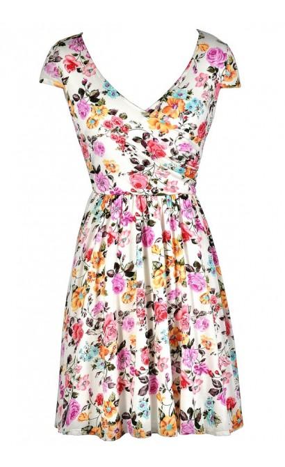 Cute Sundress, Cute Summer Dress, Floral Print Sundress, White Floral Print Dress, Ivory Floral Print Dress, Capsleeve Floral Print Dress