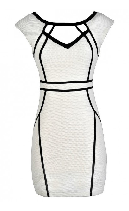White Pencil Dress, White and Black Pencil Dress, White Pencil Dress With Fabric Piping, White Cutout Pencil Dress