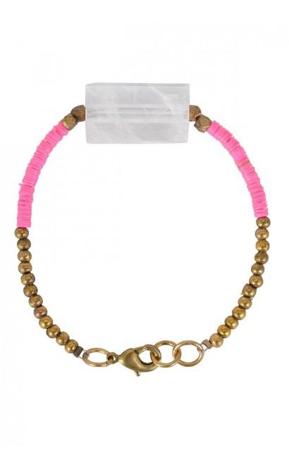Hot Pink Bracelet, Pink and Gold Bracelet, Clear Bead Bracelet, Cute Jewelry, Cute Bracelet, Boho Jewelry
