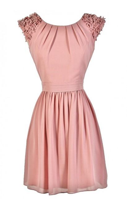 Cute Pink Dress, Blush Pink Dress, Pink Bridesmaid Dress, Pink Flower Shoulder Dress, Embellished Shoulder Dress, Pink Cocktail Dress, Pink Party Dress, Pink Summer Dress, Pink A-Line Dress