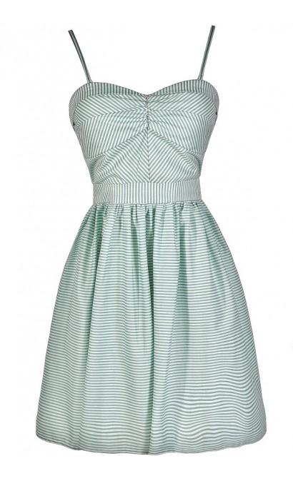 Cute Mint Dress, Mint Stripe Dress, Mint Stripe Party Dress, Mint Stripe Summer Dress, Mint Stripe A-Line Dress