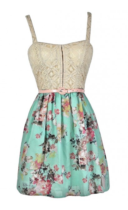 Cute Summer Dress, Mint Floral Dress, Mint Summer Dress, Mint Belted Dress, Mint Floral Print Dress, Mint Beige Lace Dress
