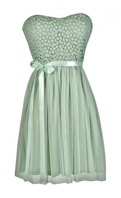 Sage Bridesmaid Dress, Mint Bridesmaid Dress, Cute Mint Dress, Cute Sage Dress, Mint Strapless Dress, Sage Strapless Dress, Sage Lace and Tulle Dress, Mint Lace and Tulle Dress, Mint Summer Dress, Cute Summer Dress