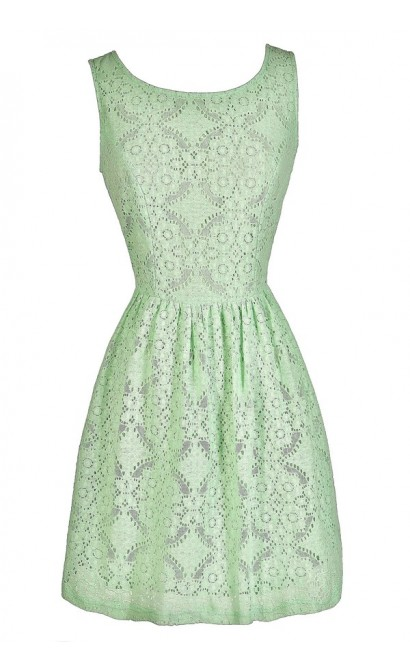 Cute Mint Dress, Mint Party Dress, Mint A-Line Dress, Mint Eyelet Dress, Mint Party Dress