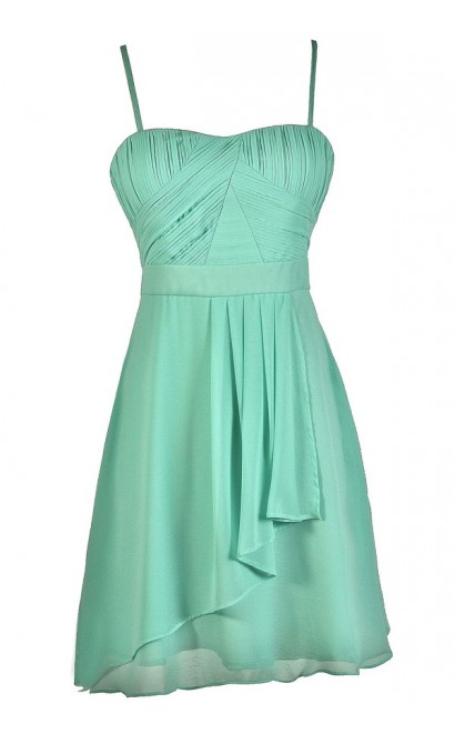 Cute Mint Dress, Mint Chiffon Dress, Mint Party Dress, Mint Bridesmaid Dress, Mint A-Line Dress, Flowy Mint Dress, Mint Summer Dress