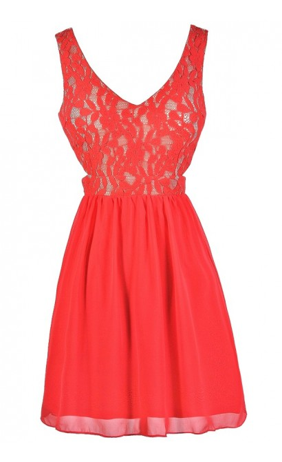 Cute Coral Dress, Coral Lace Dress, Coral Party Dress, Coral Cocktail Dress, Coral Cutout Dress, Coral Chiffon Dress, Coral A-Line Dress