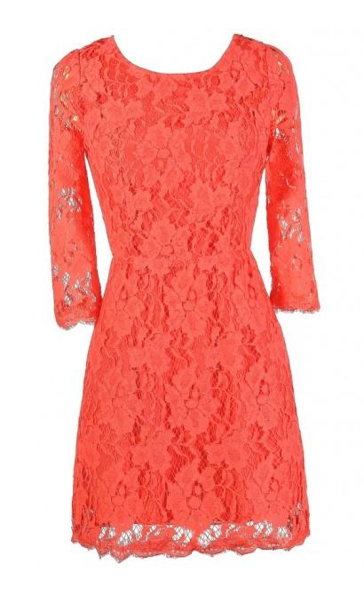 Coral Lace Dress, Cute Coral Dress, Coral Lace Open Back Dress, Coral Lace Summer Dress, Cute Summer Dress, Cute Lace Dress, Coral Lace Sheath Dress, Open Back Lace Dress