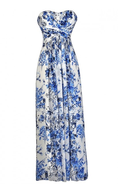 Blue and Ivory Floral Print Maxi Dress, Cute Blue and White Floral Print Dress, Blue and White Floral Print Strapless Dress, Blue and Ivory Floral Print Bridesmaid Dress, Cute Maxi Dress, Floral Print Prom Dress