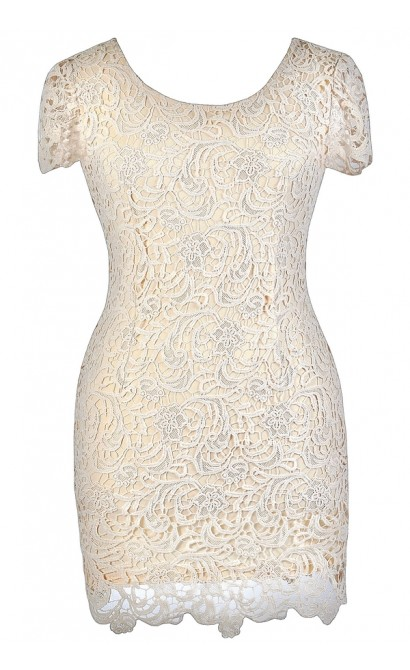 Beige Lace Plus Size Dress Cute Plus Size Dress Plus Size Pencil