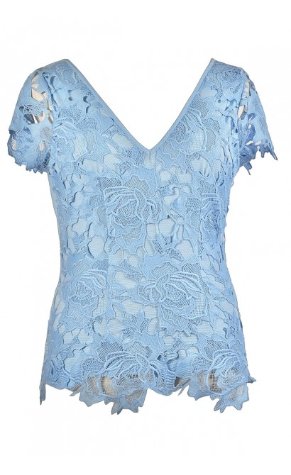 Cute Plus Size Top, Plus Size Lace Top, Pale Blue Plus Size Top, Sky Blue Plus Size Top, Plus Size Summer Top, Pale Blue Lace Top