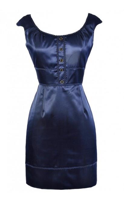Cute Navy Dress, Navy Sheath Dress, Navy Pencil Dress, Navy Work Dress, Cute Work Dress, Fitted Navy Dress