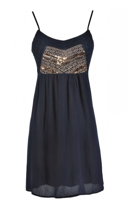 Cute Navy Dress, Navy Boho Dress, Navy Embellished Dress, Navy Summer Dress, Boho Glam Dress, Navy and Gold Dress, Navy Embroidered Summer Dress, Navy Gold Sequin Dress