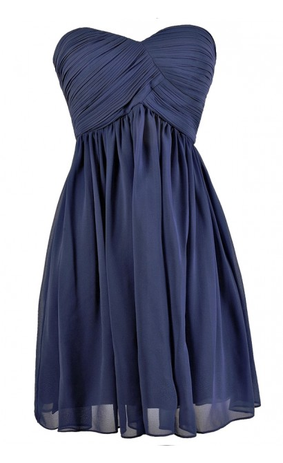 Cute Blue Dress, Blue Party Dress, Blue Bridesmaid Dress, Strapless Blue Dress, Indigo Blue Dress