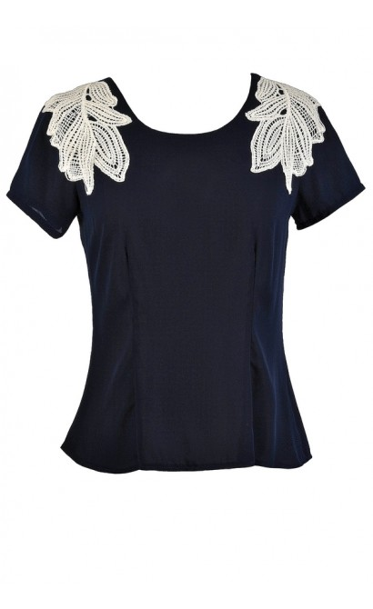 Cute Navy Top, Cute Summer Top, Navy Summer Top, Navy Shoulder Applique Top
