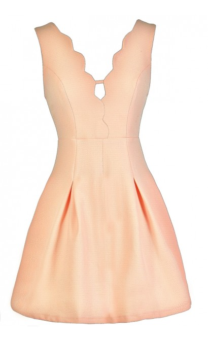 Cute Peach Dress, Peach A-Line Dress, Peach Summer Dress, Cute Summer Dress, Peach Party Dress, Peach Scalloped Dress