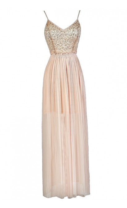 Pale Pink Sequin Maxi Dress, Blush Pink Maxi Dress, Light Pink Sequin Maxi Dress, Open Back Sequin Maxi Dress
