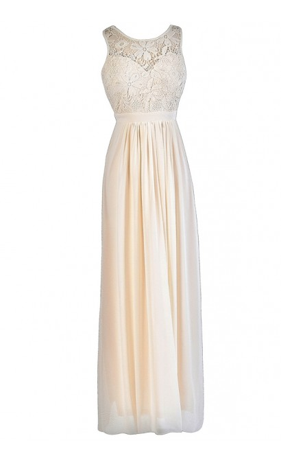 Beige Floral Lace Dress, Beige Lace Maxi Dress, Beige Lace Rehearsal Dinner Dress, Beige Lace Bridal Shower Dress