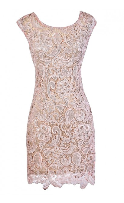 Pink Lace Dress, Cute Pink Dress, Pink Lace Cocktail Dress, Pink Lace Party Dress, Pink Lace Sheath Dress, Pink and Beige Lace Dress