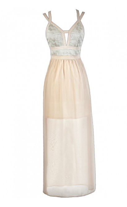 Cute Maxi Dress, Ivory Maxi Dress, Cream Maxi Dress, Beige Maxi Dress, Cute Formal Dress, Formal Maxi Dress