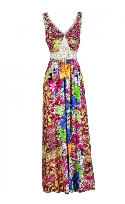 Tropical Printed Maxi Dress, Summer Maxi Dress, Hawaiian Printed Maxi Dress, Hot Pink Printed Maxi Dress, Floral Print Maxi Dress