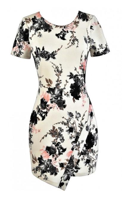 Pink and Grey Floral Print Pencil Dress, Pink and Grey Floral Summer Dress, Cute Pink and Grey Floral Dress, Floral Print Crossover Hemline Dress