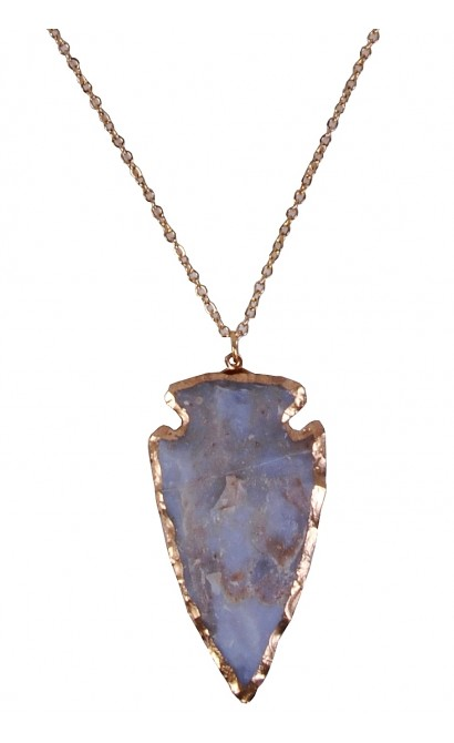 Blue and Gold Arrowhead Necklace
