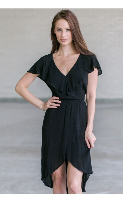 Black Ruffle High Low Dress, Black Summer Dress, Flowy Black Dress Online