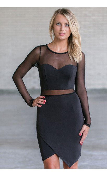 Cute Little Black Dress, Sexy Black Cocktail Dress, Black Mesh Dress, Black Bodycon Dress