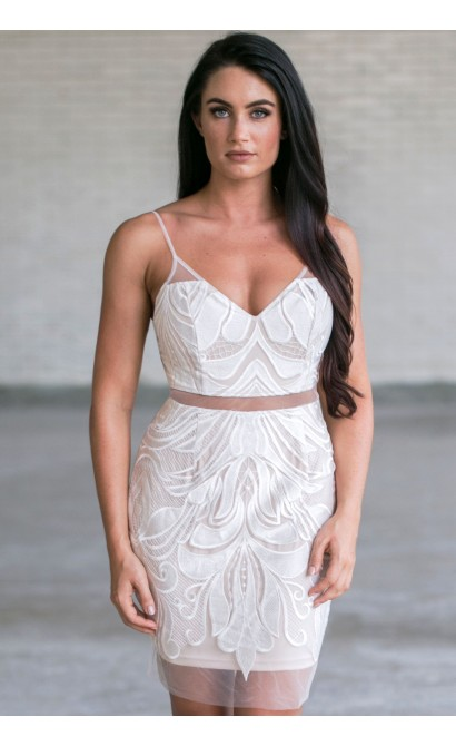 White and Nude Party Dress, Cute White Cocktail Dress ...