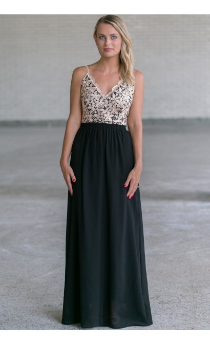 Gold and Black Lace Maxi Dress, Cute Gold and Black Lace Dress Online, Juniors Dresses