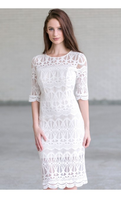 beb1e16fabf8 Ivory Lace Midi Dress
