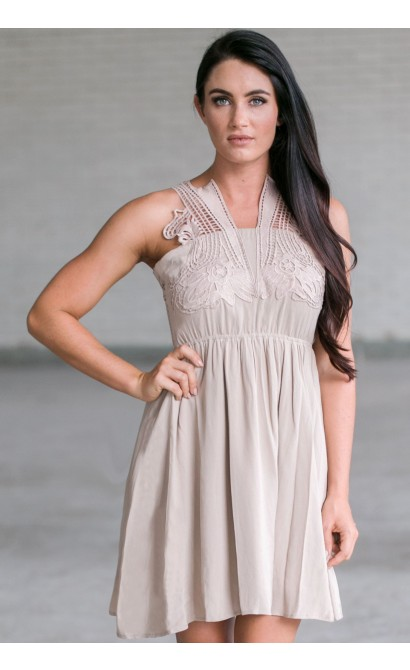 Beige Summer Dress, Cute Beige Sundress, Beige Party Dress