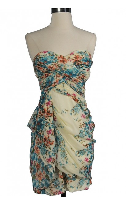 Dreaming of You Chiffon Drape Party Dress in Ivory/Blue Floral Print by Minuet